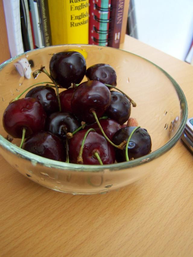 delicious black cherries on my desk!
