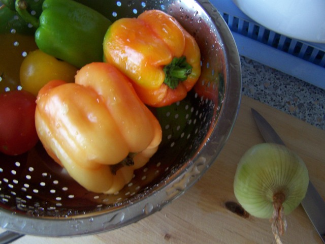 Farmer's Market finds: delicious peppers, onions, tomatoes!