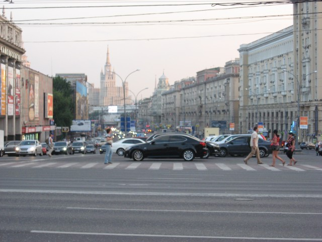 Mayakovsky Square with a Stalin Tower in the distance