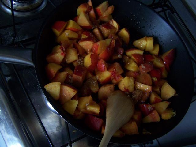 peaches, nectarines, sugar, honey, balsamic vinegar, salt and cinnamon simmering on the stove