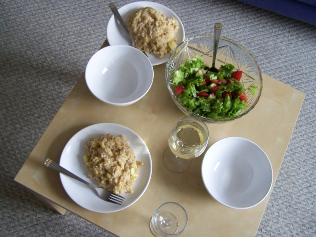 risotto, salad and white wine - our idea of a great weekend in!