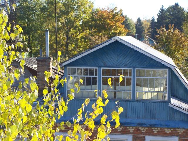 pretty blue dacha windows