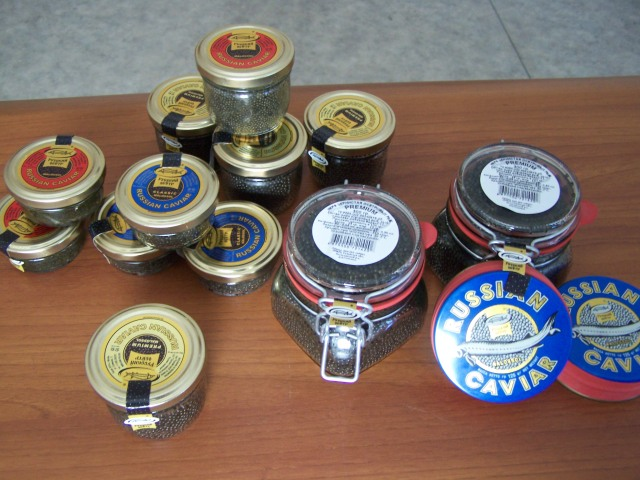 jars of $700 - $1400 black caviar